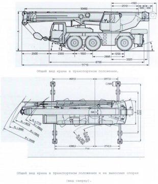 Изображение габаритных размеров автокрана Libher 50 тонн